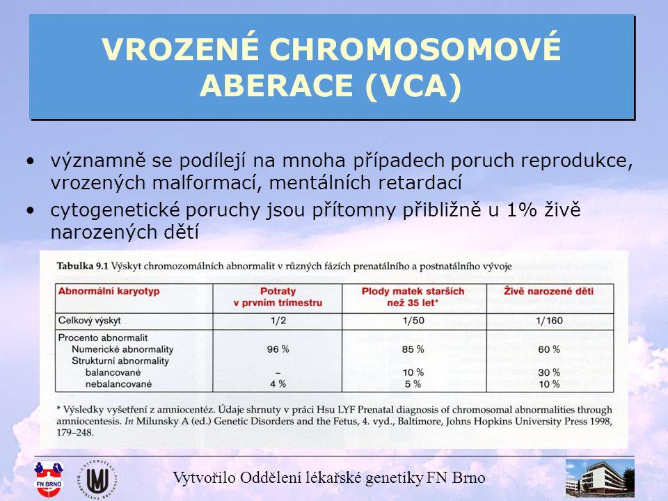 Vytvořilo Oddělení lékařské genetiky FN Brno VROZENÉ CHROMOSOMOVÉ ABERACE (VCA) abnormality počtu chromosomů abnormality počtu chromosomů - polyploidie – počet chromosomů je více než dvojnásobkem haploidního počtu (n = 23) (triploidie 3n= 69, tetraploidie 4n = 92) většinou pouze u plodů (samovolné aborty) - aneuploidie – nejčastější a klinicky velmi významný typ chromosomových poruch - abnormality počtu chromosomů v páru - tento stav je vždy spojen s poruchou fyzického nebo mentálního vývoje