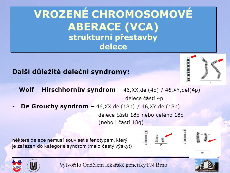 Vytvořilo Oddělení lékařské genetiky FN Brno VROZENÉ CHROMOSOMOVÉ ABERACE (VCA) strukturní přestavby delece delece Y – často souvisí se sterilitou u mužů mohou být i mikrodelece (nelze nalézt metodami klasické cytogenetiky) – delece oblastí AZF na Yq