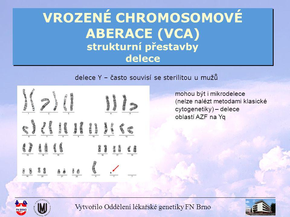 Vytvořilo Oddělení lékařské genetiky FN Brno VROZENÉ CHROMOSOMOVÉ ABERACE (VCA) strukturní přestavby delece delece Y – často souvisí se sterilitou u m