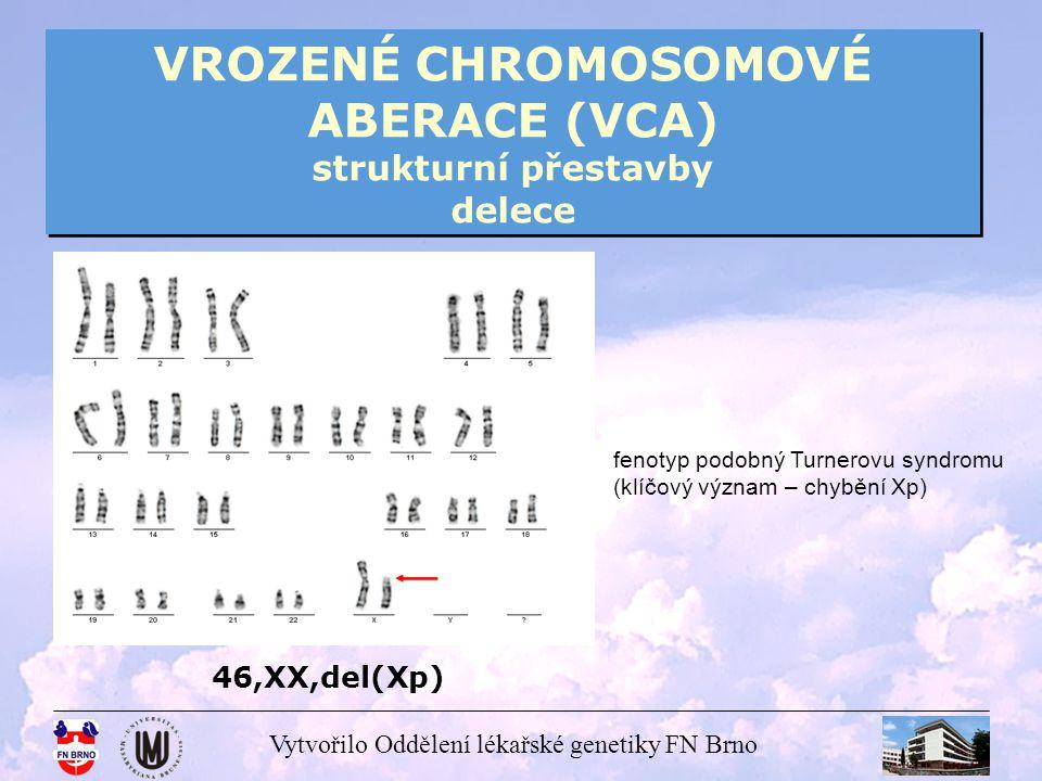 Vytvořilo Oddělení lékařské genetiky FN Brno VROZENÉ CHROMOSOMOVÉ ABERACE (VCA) strukturní přestavby inzerce inzerce – nereciproký typ translokace - segment z jednoho chromosomu je odstraněn a vložen do jiného chromosomu buď ve své původní orientaci nebo opačné - k jejich vzniku jsou potřeba 3 body zlomu, 2 na jednom chromosomu a 1 na druhém - jsou poměrně vzácné (1:80000) - hrozí vznik nebalancovaných gamet a narození abnormálních potomků
