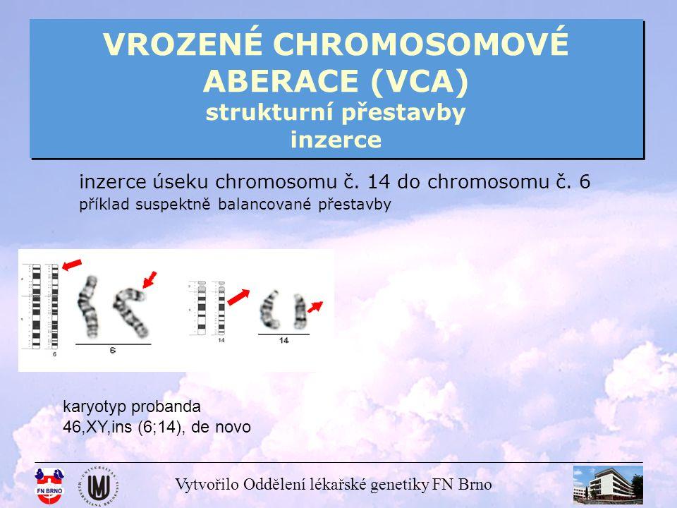 Vytvořilo Oddělení lékařské genetiky FN Brno VROZENÉ CHROMOSOMOVÉ ABERACE (VCA) strukturní přestavby inzerce inzerce úseku chromosomu č. 14 do chromos
