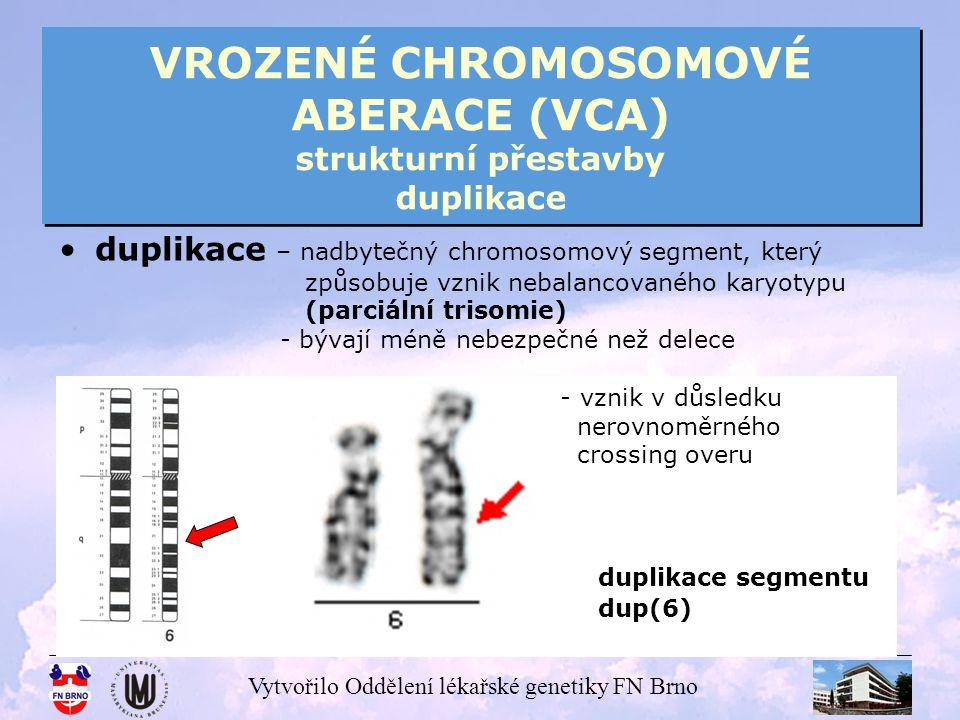 Vytvořilo Oddělení lékařské genetiky FN Brno VROZENÉ CHROMOSOMOVÉ ABERACE (VCA) strukturní přestavby duplikace duplikace – nadbytečný chromosomový seg