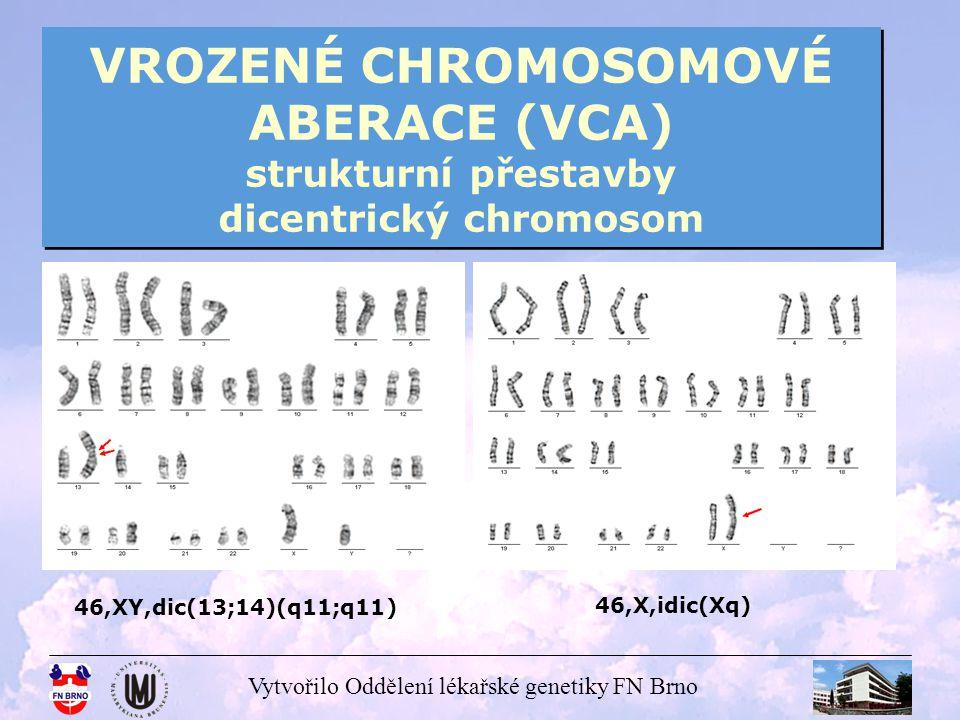 Vytvořilo Oddělení lékařské genetiky FN Brno VROZENÉ CHROMOSOMOVÉ ABERACE (VCA) strukturní přestavby derivovaný chromosom robertsonovská translokace chromosom u nebalancovaného potomka rodičů – nositelů balancované přestavby chromosom se změněnou strukturou oproti normě karyotyp matky 46,XX,t(16;21) dítě s nebalancovaným karyotypem 46,XY,der(21)t(16;21)mat 46,X,der(Y) Yq 45,XX,der(13;14)