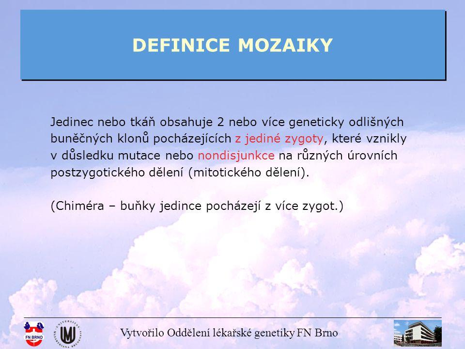 Vytvořilo Oddělení lékařské genetiky FN Brno DEFINICE MOZAIKY Jedinec nebo tkáň obsahuje 2 nebo více geneticky odlišných buněčných klonů pocházejících