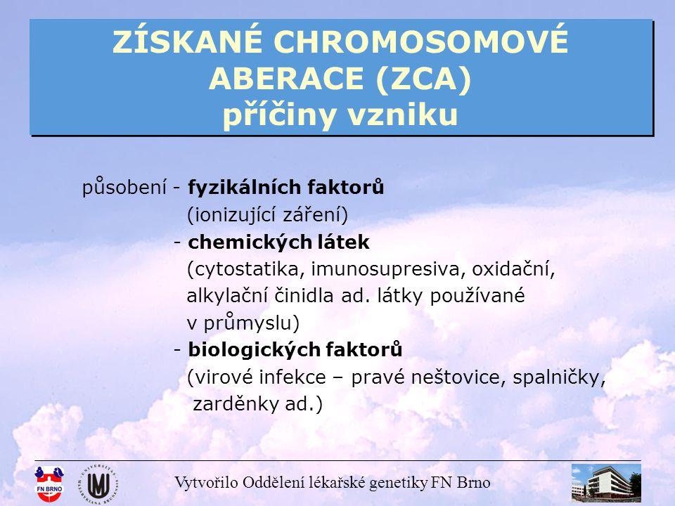 Vytvořilo Oddělení lékařské genetiky FN Brno ZÍSKANÉ CHROMOSOMOVÉ ABERACE (ZCA) příčiny vzniku působení - fyzikálních faktorů (ionizující záření) - ch