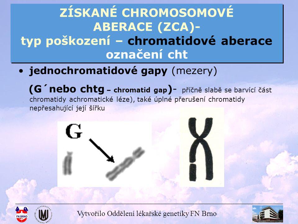 Vytvořilo Oddělení lékařské genetiky FN Brno ZÍSKANÉ CHROMOSOMOVÉ ABERACE (ZCA)- typ poškození – chromatidové aberace označení cht jednochromatidové zlomy (Z´nebo chtb – chromatid brake ), oddělení samostatného fragmentu (F) – úplné přerušení chromatidy, pravděpodobně koncová delece (fragmenty mívají různé rozměry, mohou být v ose s původním chromosomem nebo nemusí)
