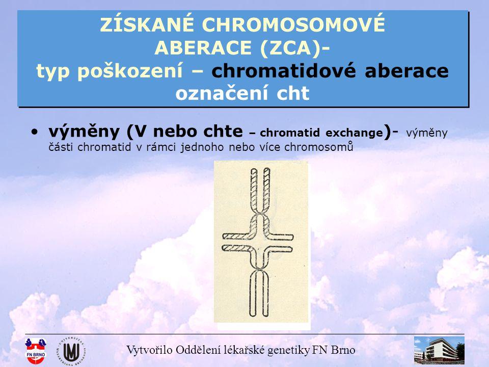 Vytvořilo Oddělení lékařské genetiky FN Brno ZÍSKANÉ CHROMOSOMOVÉ ABERACE (ZCA)- typ poškození – chromatidové aberace označení cht výměny (V nebo chte