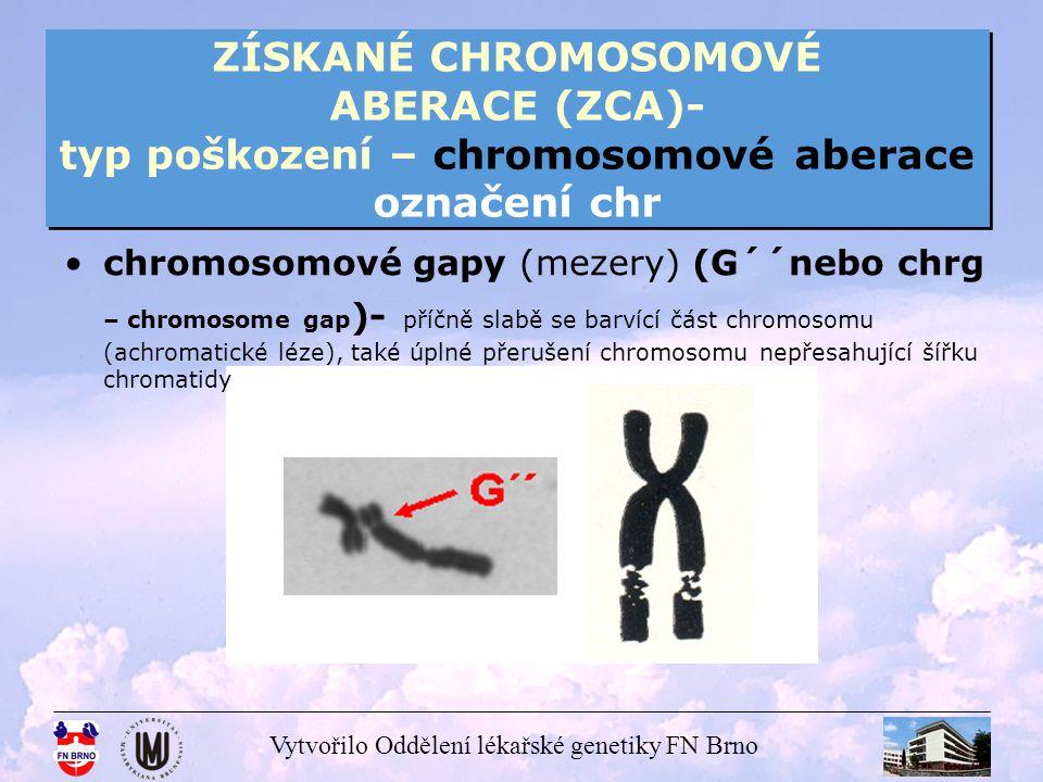 Vytvořilo Oddělení lékařské genetiky FN Brno ZÍSKANÉ CHROMOSOMOVÉ ABERACE (ZCA)- typ poškození – chromosomové aberace označení chr acentrické ringy, kruhové chromosomy- uzavřené struktury, vznik dvou zlomů na jednom chromosomu, dojde ke spojení – acentrické ringy jsou bez centromery, kruhové chromosomy zahrnují centromeru