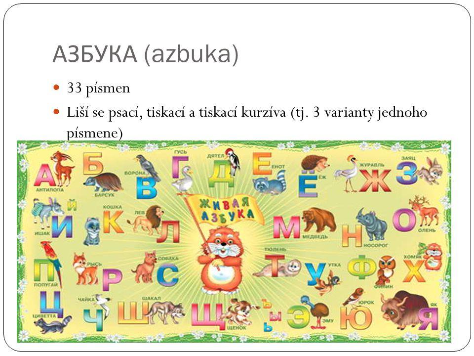 АЗБУКА (azbuka) 33 písmen Liší se psací, tiskací a tiskací kurzíva (tj. 3 varianty jednoho písmene)