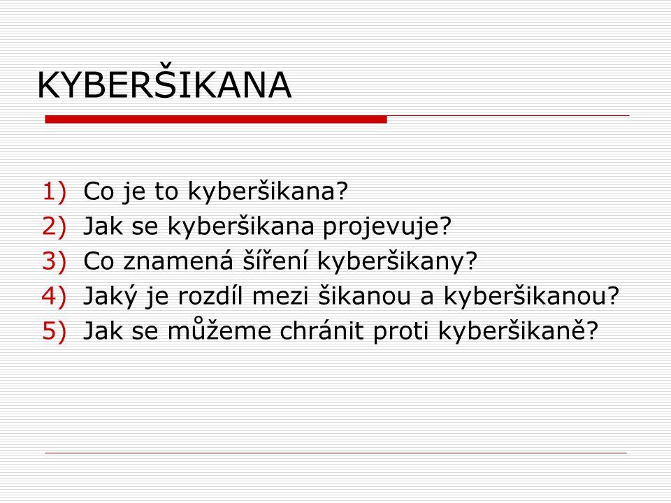 KYBERŠIKANA 1)Co je to kyberšikana. 2)Jak se kyberšikana projevuje.