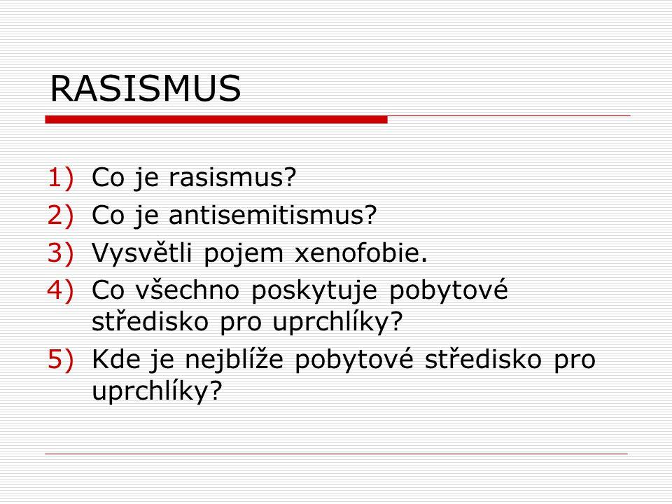 RASISMUS 1)Co je rasismus. 2)Co je antisemitismus.