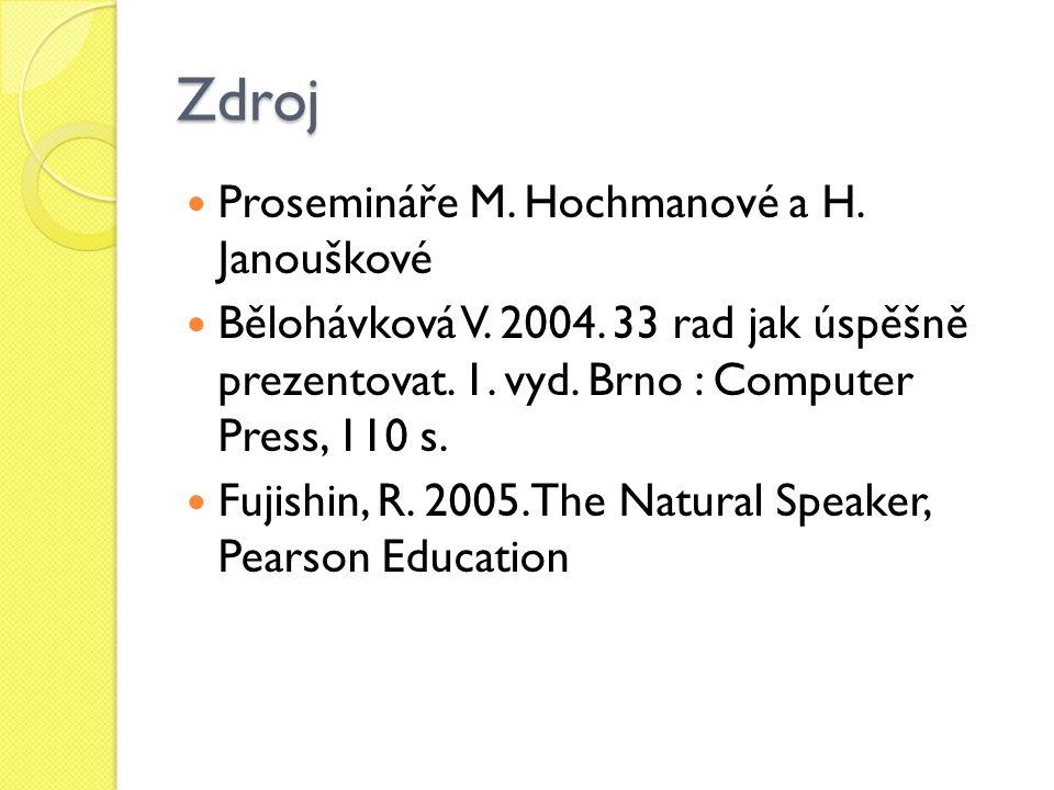 Zdroj Prosemináře M. Hochmanové a H. Janouškové Bělohávková V. 2004. 33 rad jak úspěšně prezentovat. 1. vyd. Brno : Computer Press, 110 s. Fujishin, R