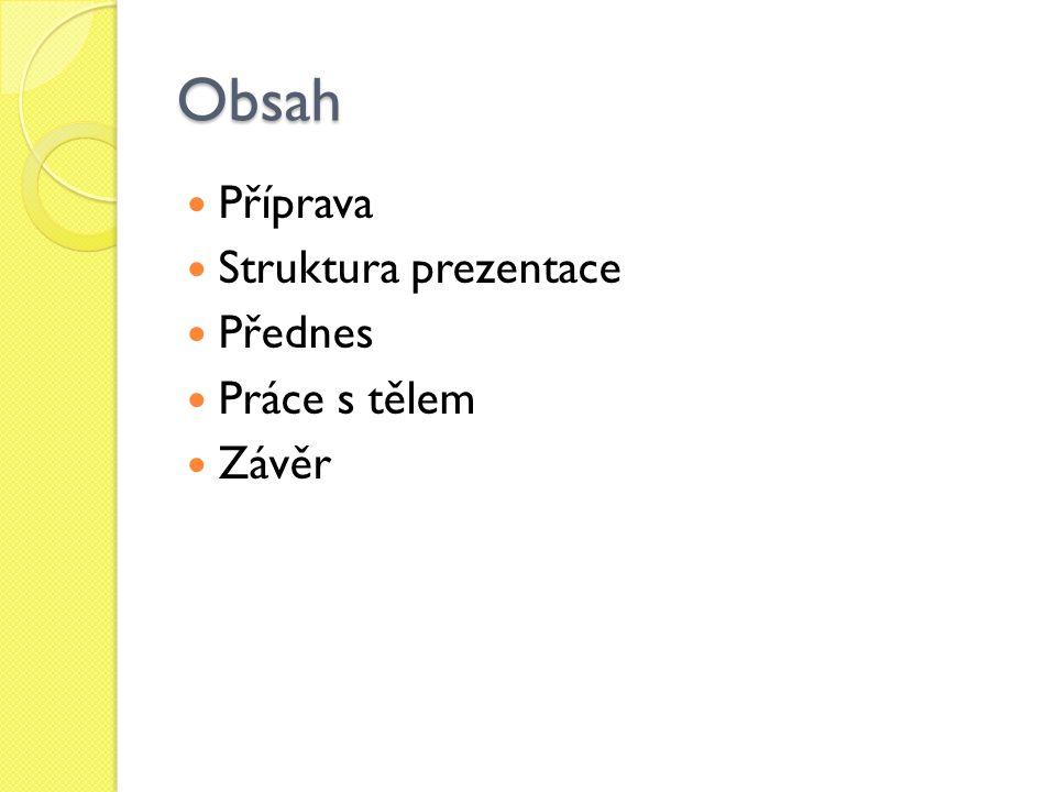 Obsah Příprava Struktura prezentace Přednes Práce s tělem Závěr