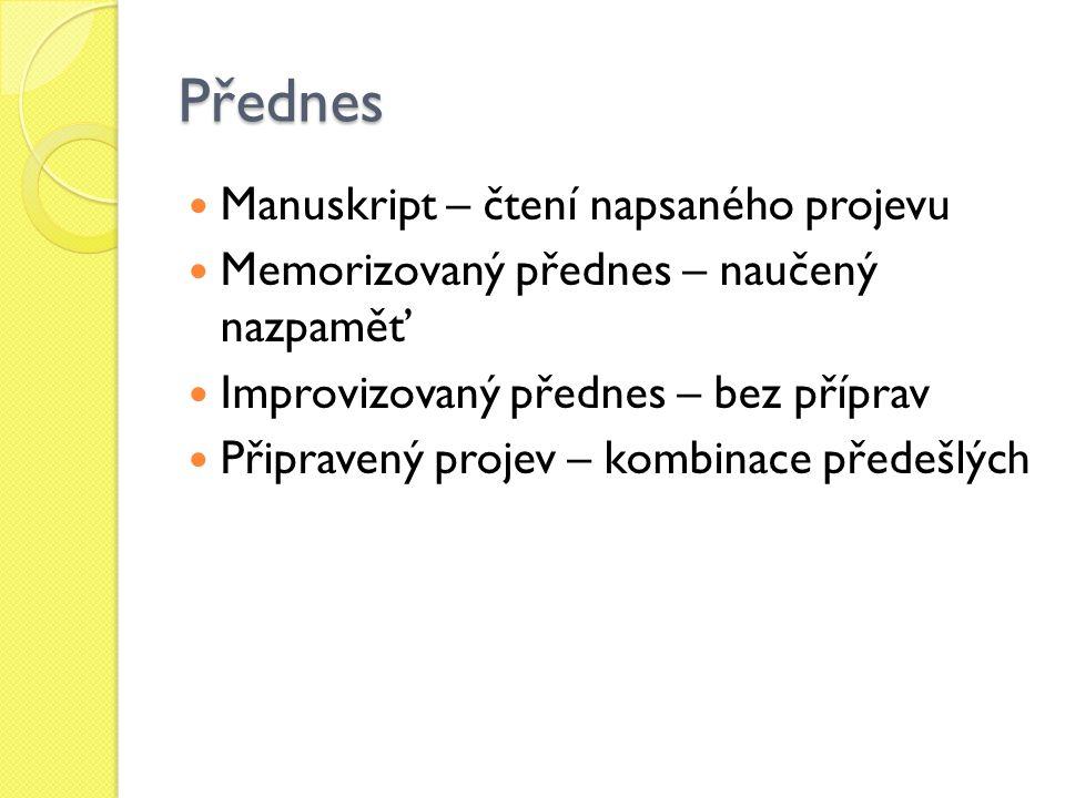 Přednes Manuskript – čtení napsaného projevu Memorizovaný přednes – naučený nazpaměť Improvizovaný přednes – bez příprav Připravený projev – kombinace