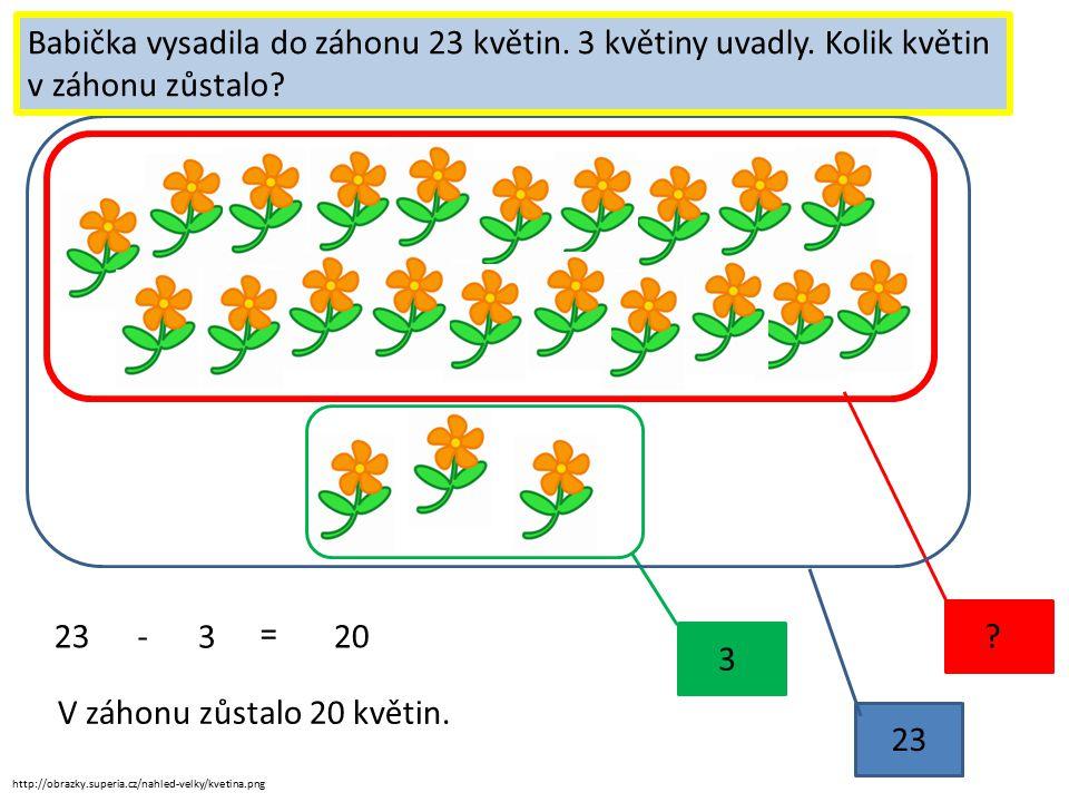 http://obrazky.superia.cz/nahled-velky/kvetina.png 3 ? 23 Vyřeš slovní úkol. Babička vysadila do záhonu 23 květin. 3 květiny uvadly. Kolik květin v zá