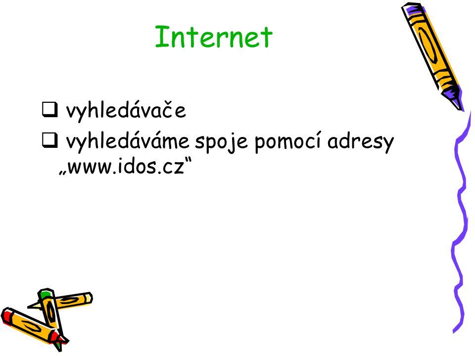 """Internet  vyhledávače  vyhledáváme spoje pomocí adresy """"www.idos.cz"""""""