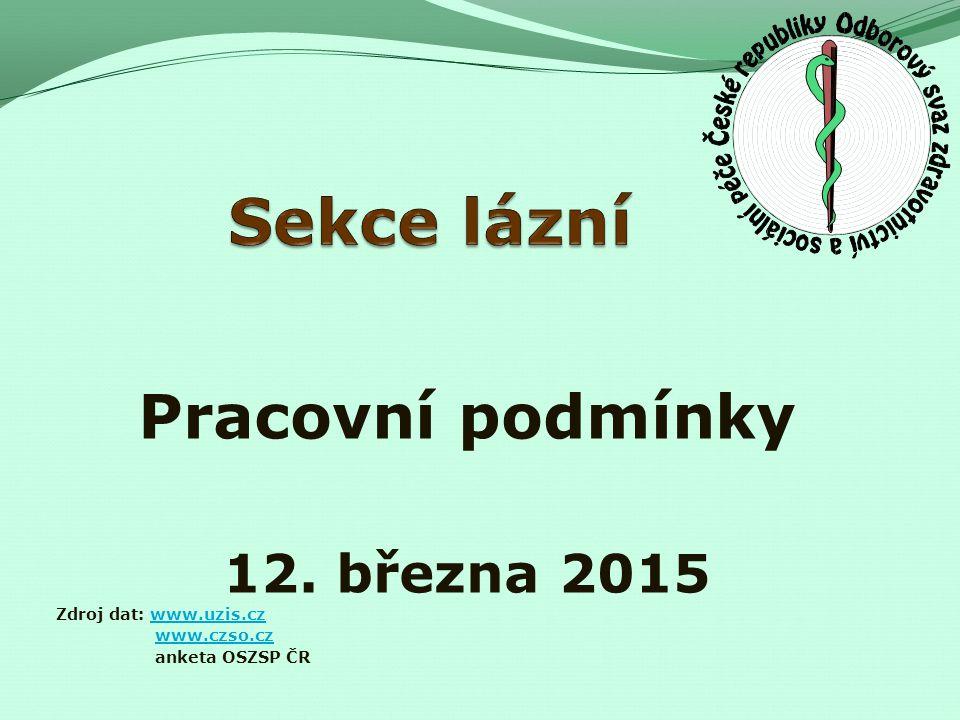 Pracovní podmínky 12. března 2015 Zdroj dat: www.uzis.czwww.uzis.cz www.czso.cz anketa OSZSP ČR