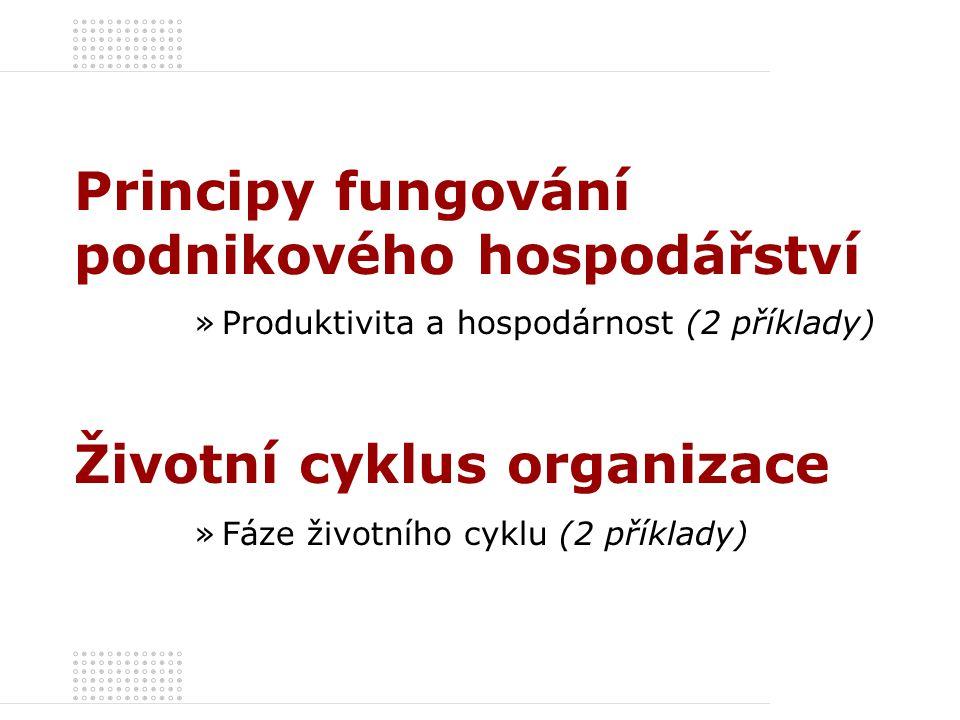 Příklad 2 – řešení Produktivita podniku Hodnotově vyjádřená hospodárnost