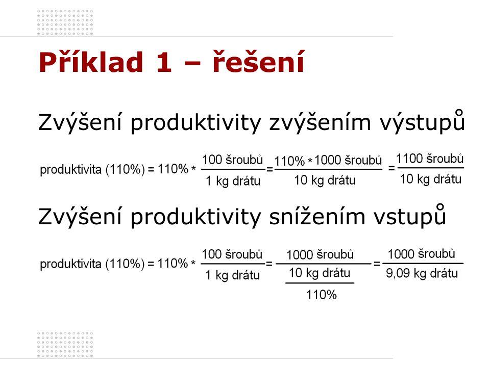 Příklad 1 – řešení Zvýšení produktivity zvýšením výstupů Zvýšení produktivity snížením vstupů