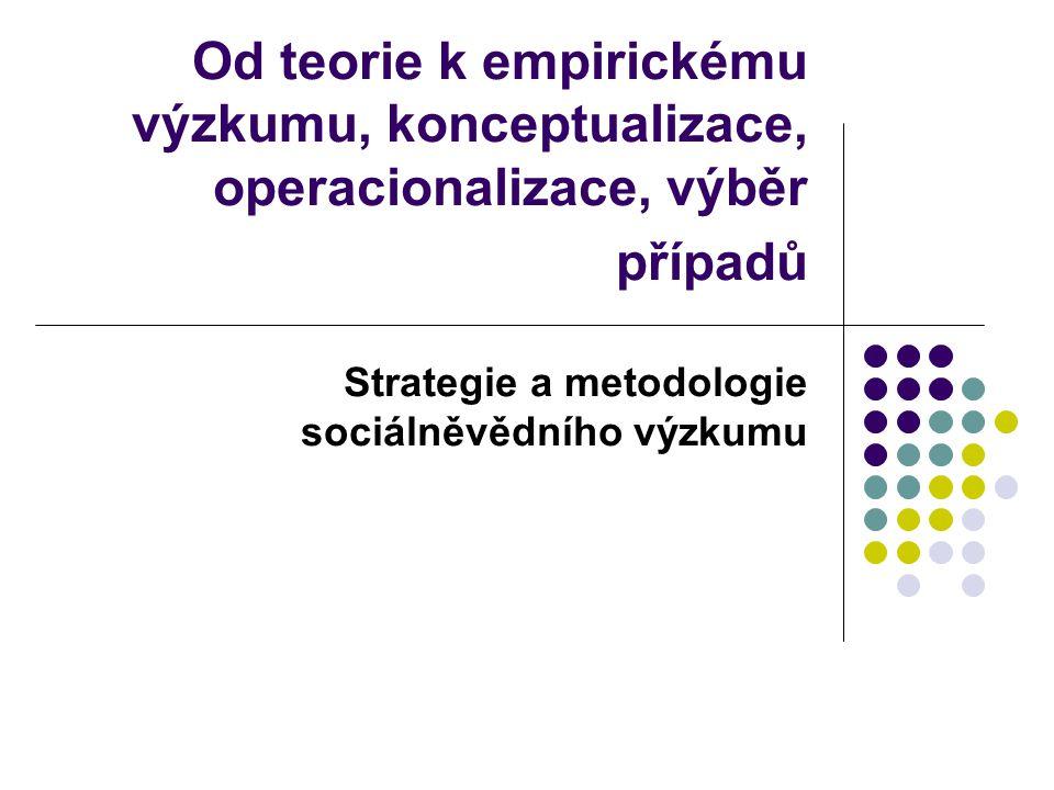 Od teorie k empirickému výzkumu, konceptualizace, operacionalizace, výběr případů Strategie a metodologie sociálněvědního výzkumu