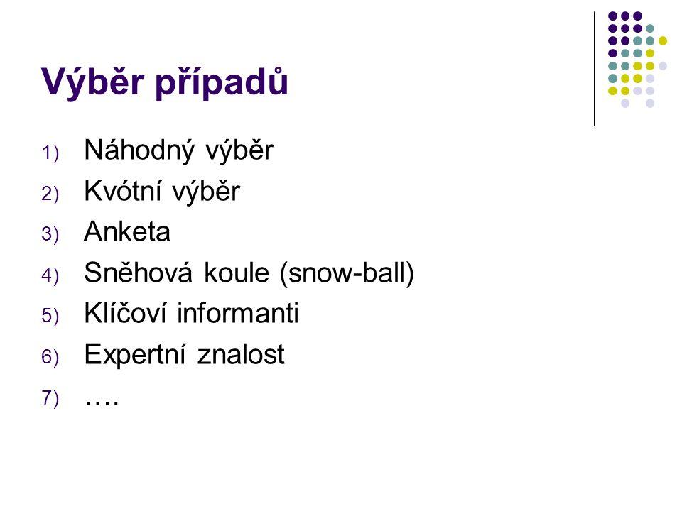 Výběr případů 1) Náhodný výběr 2) Kvótní výběr 3) Anketa 4) Sněhová koule (snow-ball) 5) Klíčoví informanti 6) Expertní znalost 7) ….