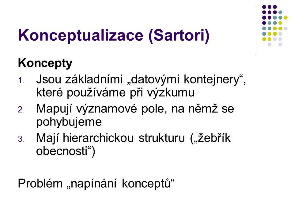 """Konceptualizace (Sartori) Koncepty 1. Jsou základními """"datovými kontejnery"""", které používáme při výzkumu 2. Mapují významové pole, na němž se pohybuje"""