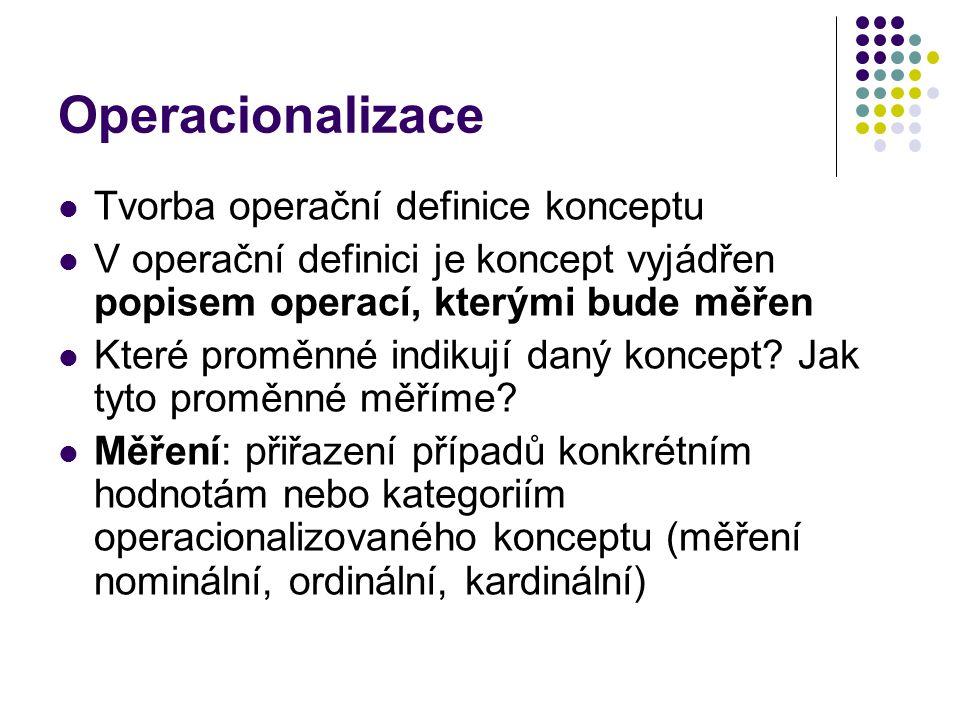 Operacionalizace Tvorba operační definice konceptu V operační definici je koncept vyjádřen popisem operací, kterými bude měřen Které proměnné indikují