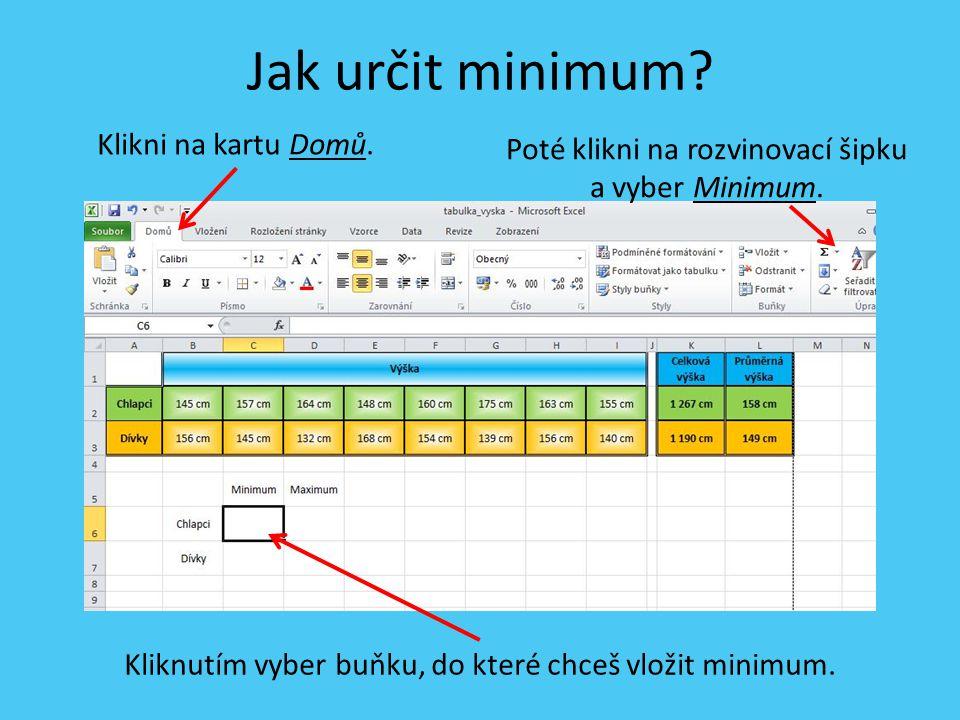 Jak určit minimum. Kliknutím vyber buňku, do které chceš vložit minimum.
