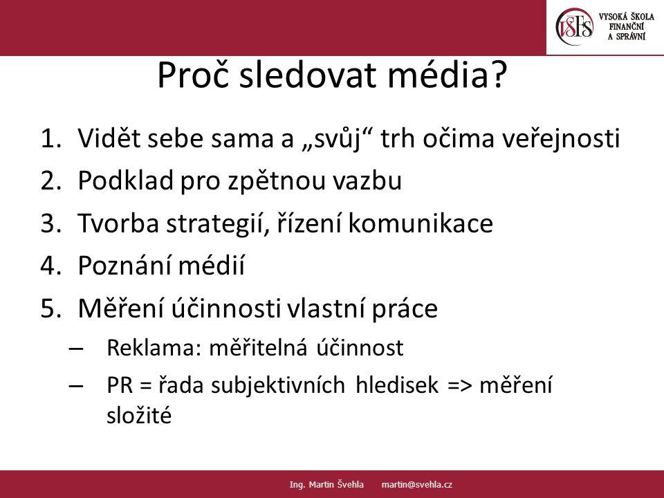 """Proč sledovat média? 1.Vidět sebe sama a """"svůj"""" trh očima veřejnosti 2.Podklad pro zpětnou vazbu 3.Tvorba strategií, řízení komunikace 4.Poznání médií"""
