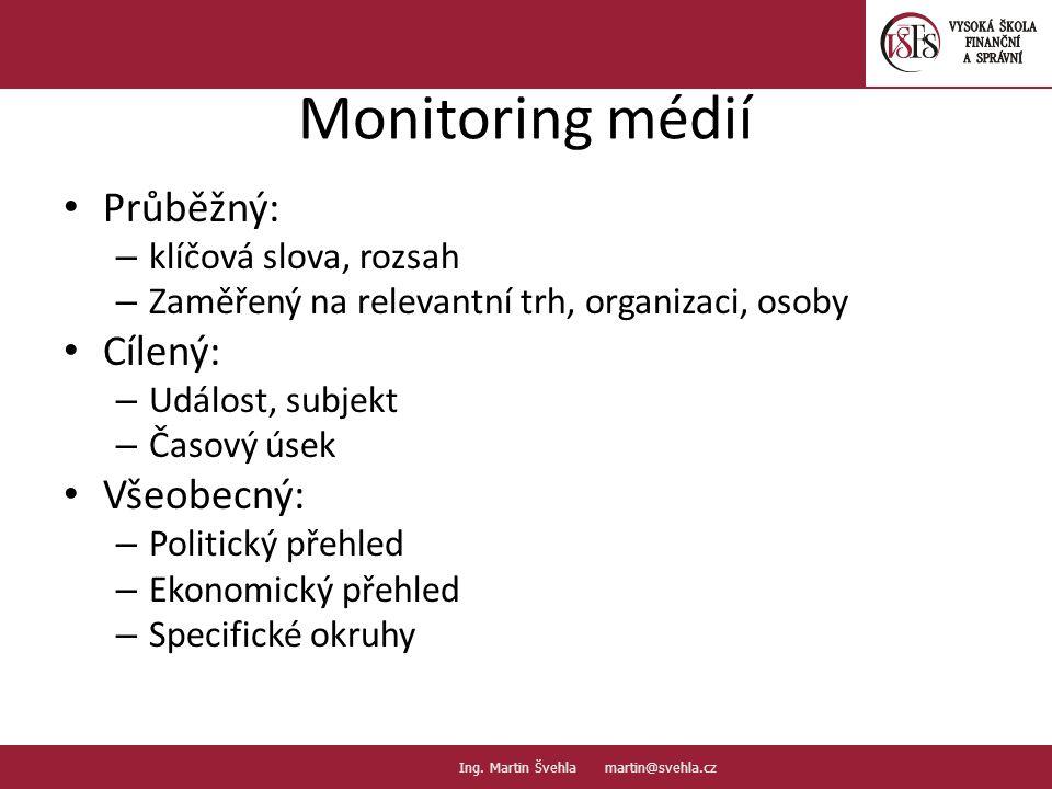 Monitoring médií Průběžný: – klíčová slova, rozsah – Zaměřený na relevantní trh, organizaci, osoby Cílený: – Událost, subjekt – Časový úsek Všeobecný: