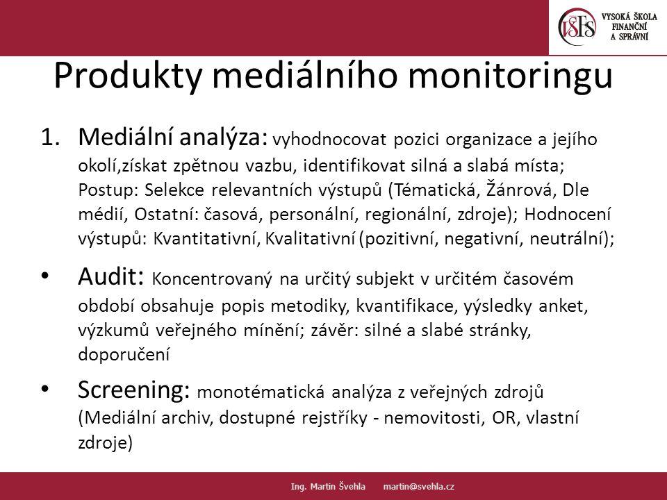 Produkty mediálního monitoringu 1.Mediální analýza: vyhodnocovat pozici organizace a jejího okolí,získat zpětnou vazbu, identifikovat silná a slabá mí