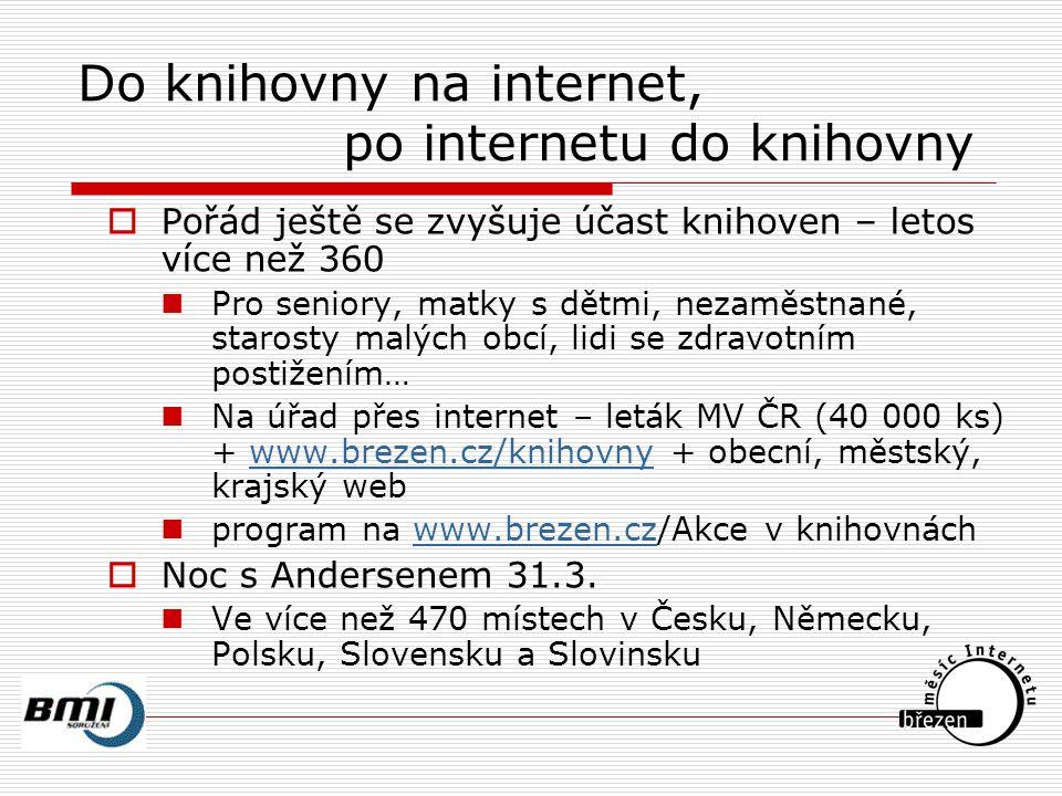 Do knihovny na internet, po internetu do knihovny  Pořád ještě se zvyšuje účast knihoven – letos více než 360 Pro seniory, matky s dětmi, nezaměstnané, starosty malých obcí, lidi se zdravotním postižením… Na úřad přes internet – leták MV ČR (40 000 ks) + www.brezen.cz/knihovny + obecní, městský, krajský webwww.brezen.cz/knihovny program na www.brezen.cz/Akce v knihovnáchwww.brezen.cz  Noc s Andersenem 31.3.