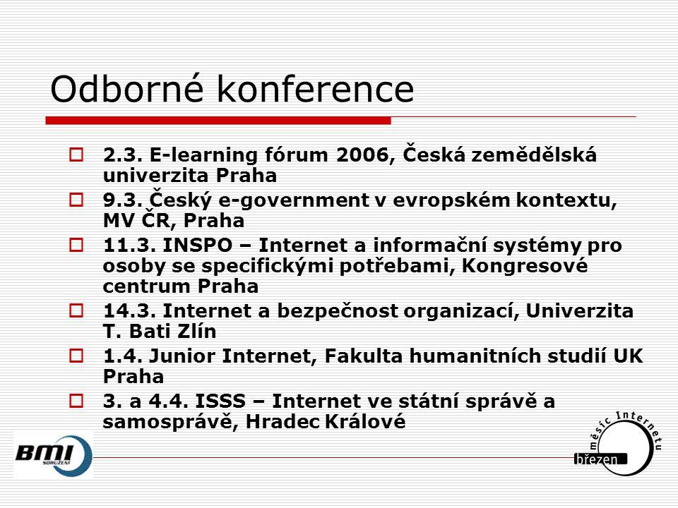Odborné konference  2.3. E-learning fórum 2006, Česká zemědělská univerzita Praha  9.3.