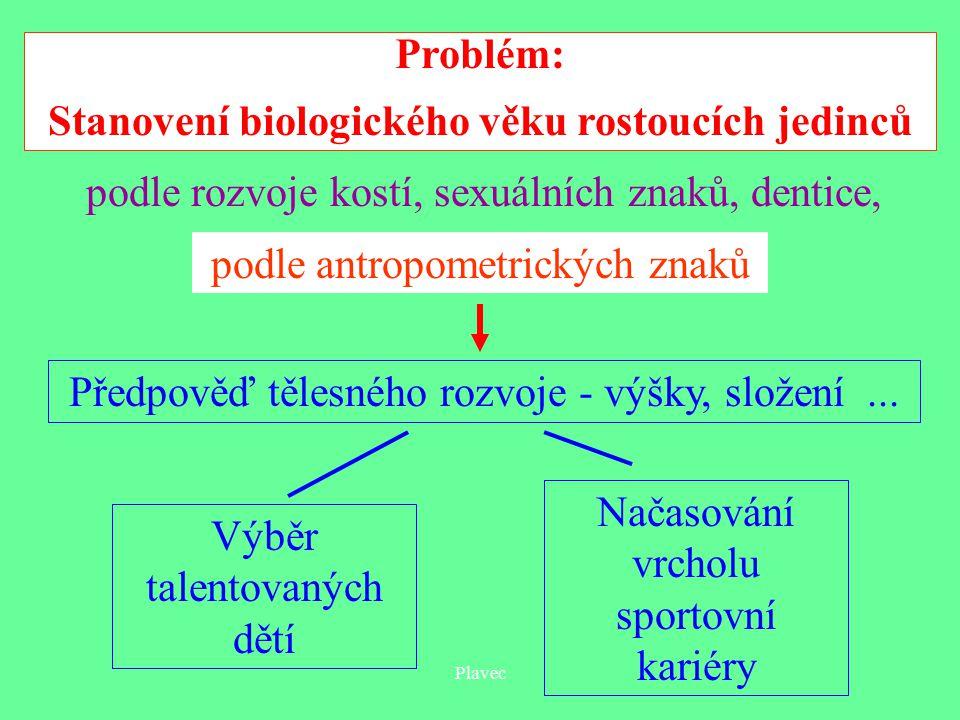 Plavec Problém: Stanovení biologického věku rostoucích jedinců Předpověď tělesného rozvoje - výšky, složení...