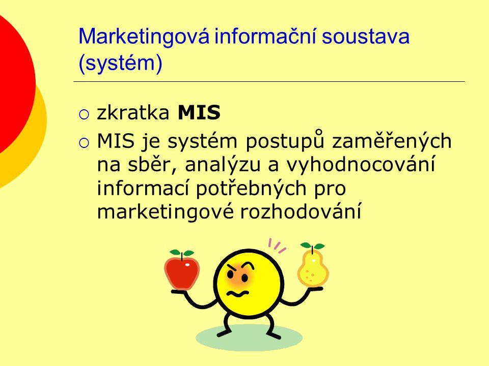 Cíle MIS  shromažďování potřebných informací o trhu o zákaznících o konkurenci o vývojových trendech ve společnosti o dalších činitelích ovlivňujících trh  podpoření marketingového rozhodování prostřednictvím matematických a statistických metod či prostředků ICT Cíle