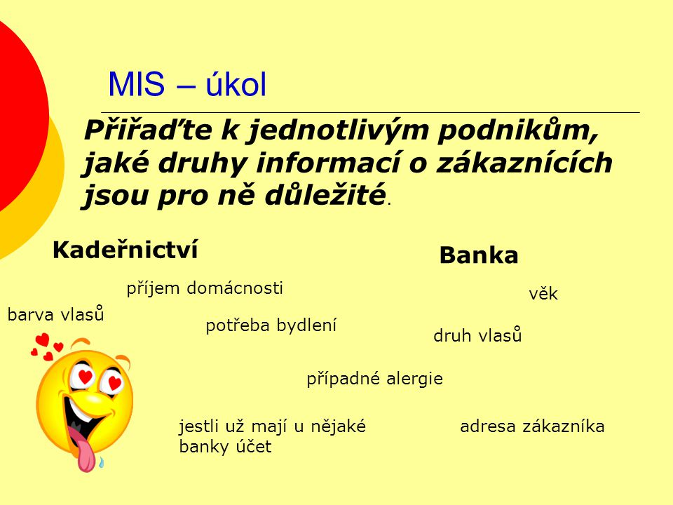 MIS – úkol Kadeřnictví Banka Přiřaďte k jednotlivým podnikům, jaké druhy informací o zákaznících jsou pro ně důležité. příjem domácnosti druh vlasů vě