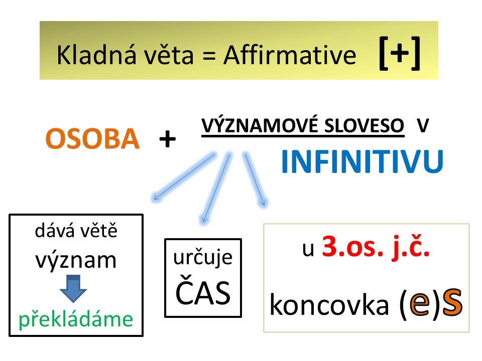 Kladná věta = Affirmative [+] VÝZNAMOVÉ SLOVESO V INFINITIVU OSOBA určuje ČAS dává větě význam překládáme +