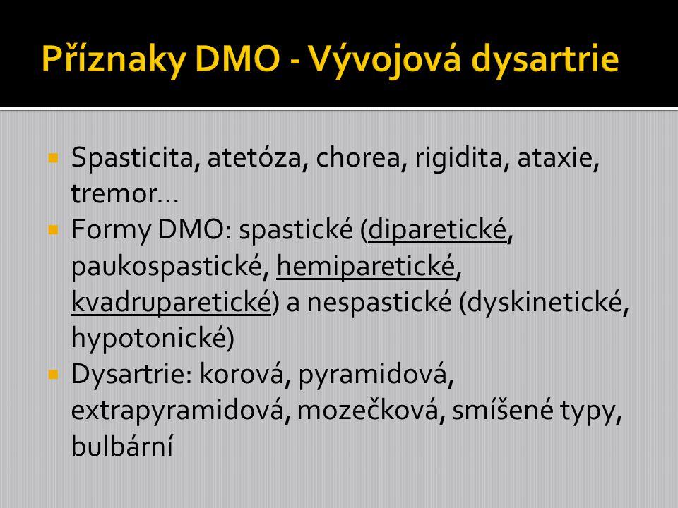  Dysartrie zahrnují skupinu příbuzných řečových poruch, které jsou způsobeny nedostatky svalové kontroly řečových mechanismů, motorické realizace řeči při dýchání, fonaci, rezonanci a artikulaci.