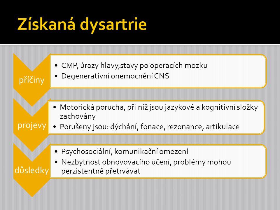1.Korová dysartrie –nádech spasticity,váznou složitější pohyby 2.