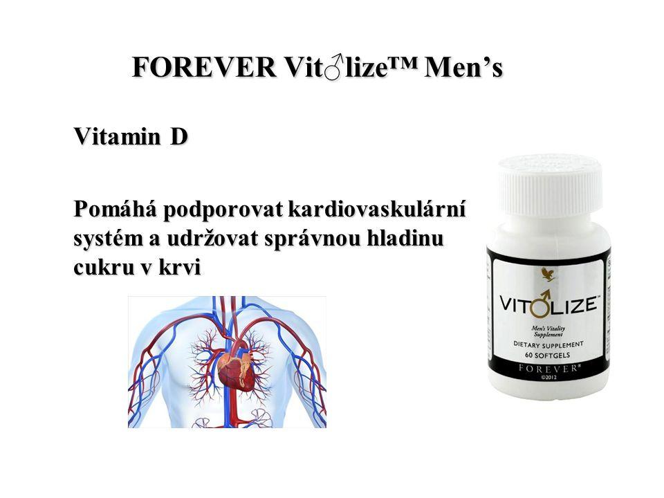FOREVER Vit♂lize™ Men's FOREVER Vit♂lize™ Men's Vitamin D Pomáhá podporovat kardiovaskulární systém a udržovat správnou hladinu cukru v krvi