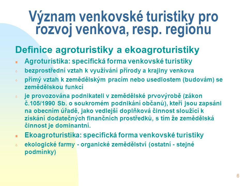 6 Význam venkovské turistiky pro rozvoj venkova, resp.