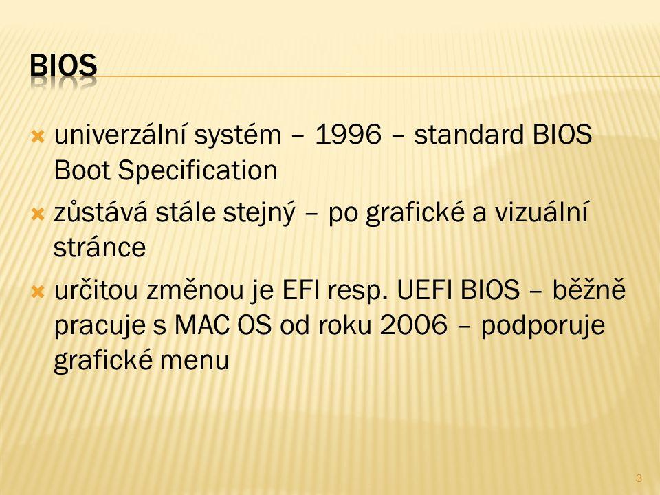  univerzální systém – 1996 – standard BIOS Boot Specification  zůstává stále stejný – po grafické a vizuální stránce  určitou změnou je EFI resp.