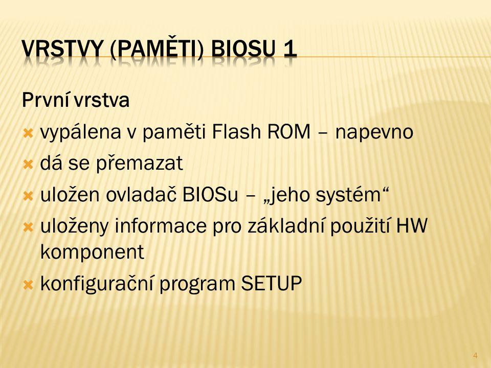 """První vrstva  vypálena v paměti Flash ROM – napevno  dá se přemazat  uložen ovladač BIOSu – """"jeho systém  uloženy informace pro základní použití HW komponent  konfigurační program SETUP 4"""