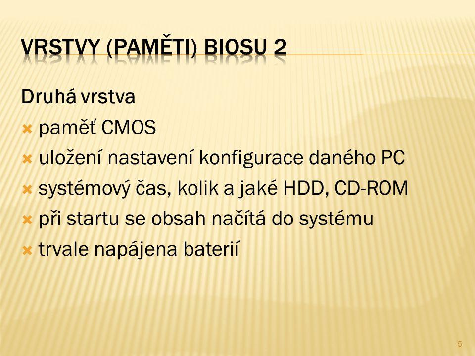 Druhá vrstva  paměť CMOS  uložení nastavení konfigurace daného PC  systémový čas, kolik a jaké HDD, CD-ROM  při startu se obsah načítá do systému  trvale napájena baterií 5