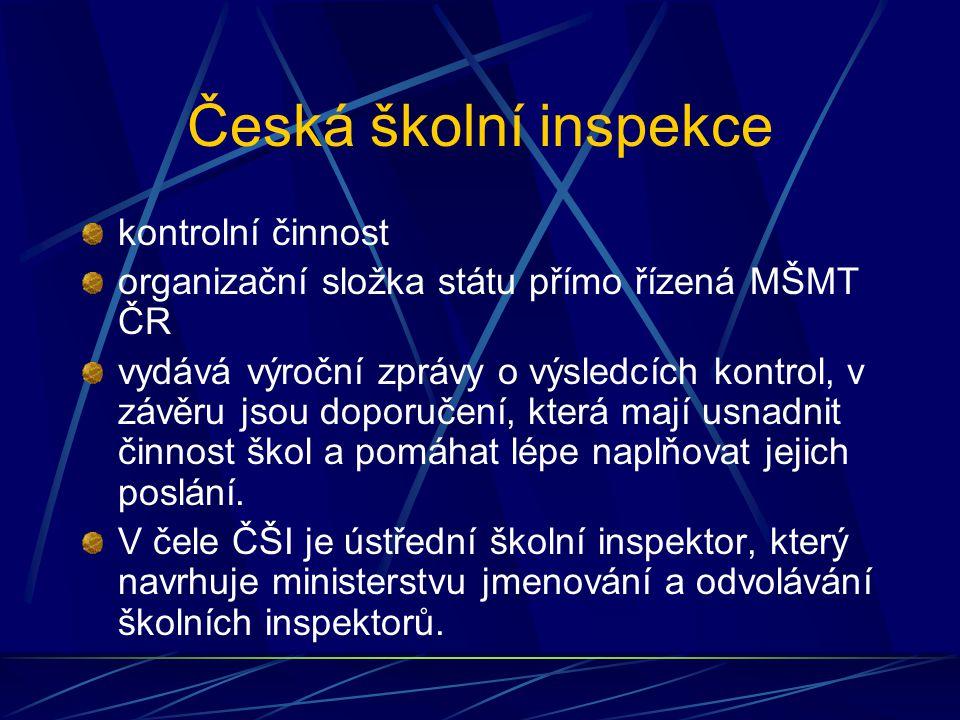 Česká školní inspekce kontrolní činnost organizační složka státu přímo řízená MŠMT ČR vydává výroční zprávy o výsledcích kontrol, v závěru jsou doporu