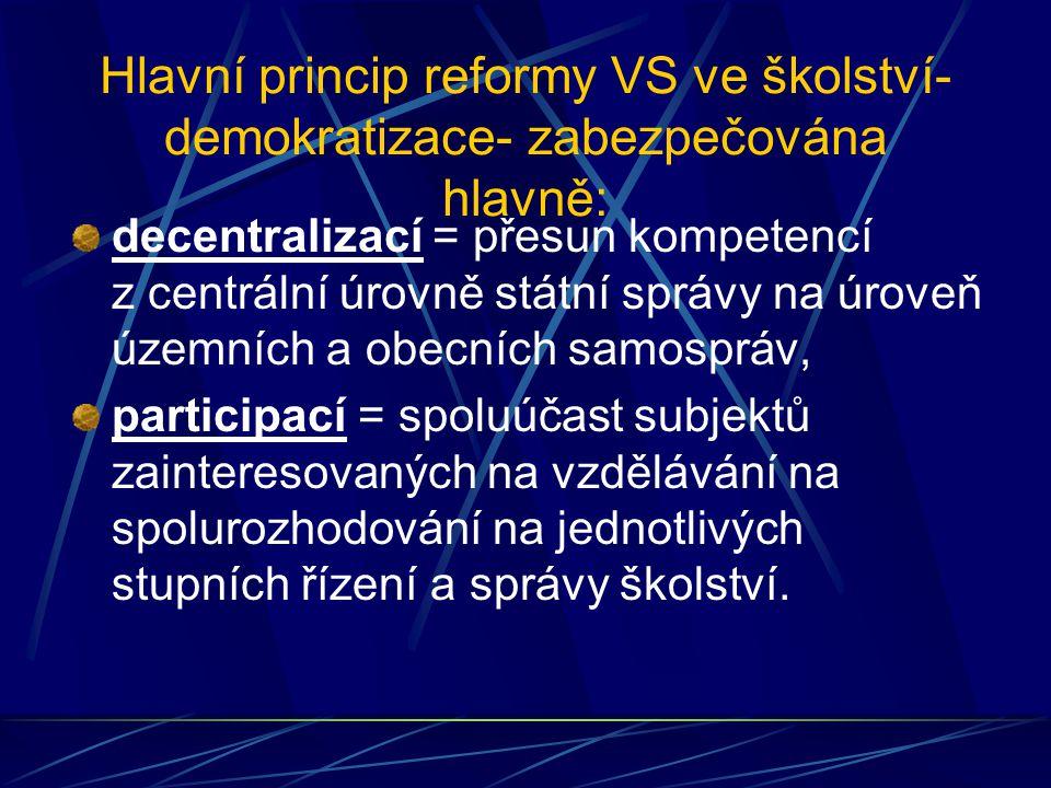 Hlavní princip reformy VS ve školství- demokratizace- zabezpečována hlavně: decentralizací = přesun kompetencí z centrální úrovně státní správy na úro
