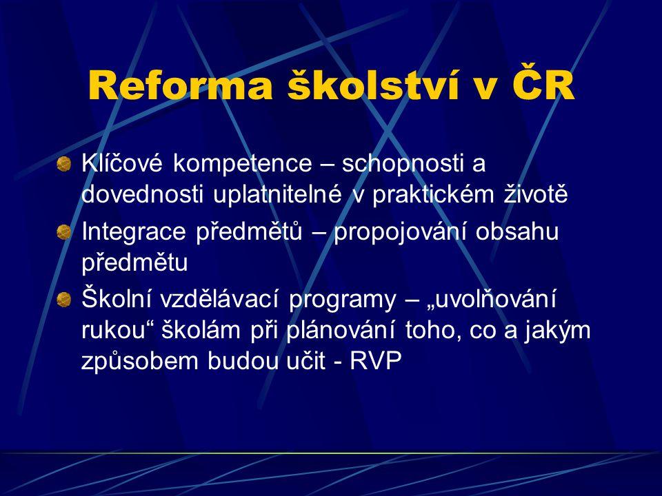 Reforma školství v ČR Klíčové kompetence – schopnosti a dovednosti uplatnitelné v praktickém životě Integrace předmětů – propojování obsahu předmětu Š