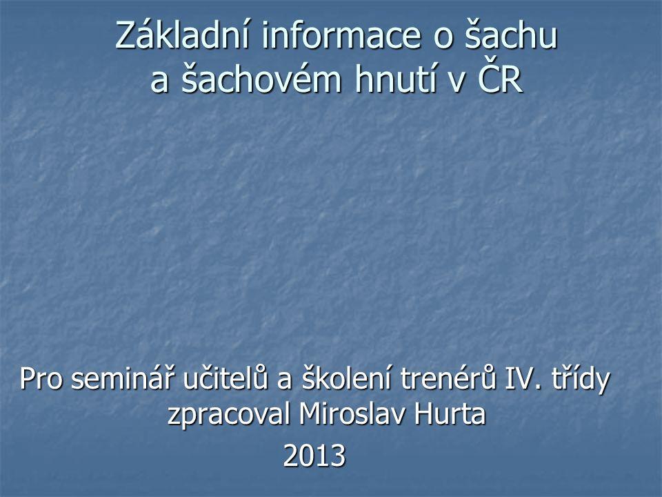 Použitá literatura a informační zdroje: Hurta, Miroslav: Rukověť trenéra šachu Černobílá kniha http://www.blue-point.cz/forum/viewtopic.php?f=3&t=2 a Černobílá kniha http://www.blue-point.cz/forum/viewtopic.php?f=3&t=2 a http://www.chess.cz/www/assets/files/informace/vv/strategie/Bila_kniha.pdfhttp://www.blue-point.cz/forum/viewtopic.php?f=3&t=2 http://www.chess.cz/www/assets/files/informace/vv/strategie/Bila_kniha.pdf Wikipedie http://cs.wikipedia.org/wiki/D%C4%9Bjiny_%C5%A1achov%C3%A9_hryhttp://cs.wikipedia.org/wiki/D%C4%9Bjiny_%C5%A1achov%C3%A9_hry