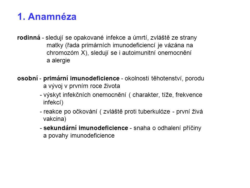 1. Anamnéza rodinná - sledují se opakované infekce a úmrtí, zvláště ze strany matky (řada primárních imunodeficiencí je vázána na chromozóm X), sleduj