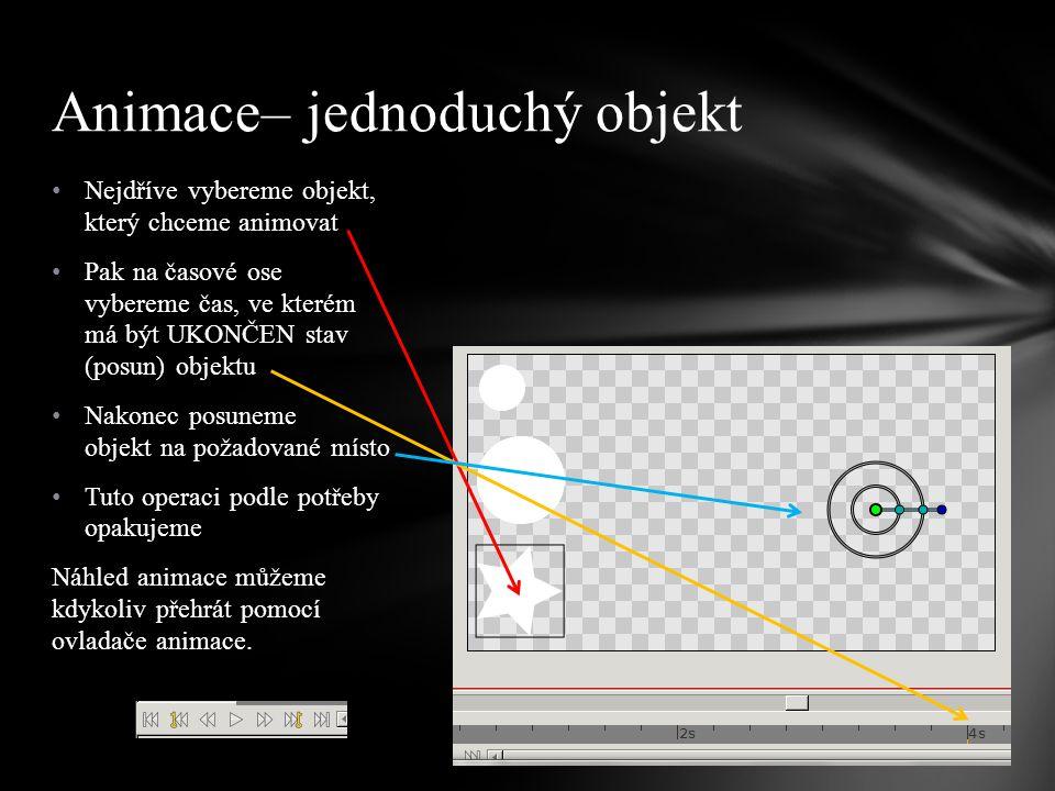 Nejdříve vybereme objekt, který chceme animovat Pak na časové ose vybereme čas, ve kterém má být UKONČEN stav (posun) objektu Nakonec posuneme objekt na požadované místo Tuto operaci podle potřeby opakujeme Náhled animace můžeme kdykoliv přehrát pomocí ovladače animace.